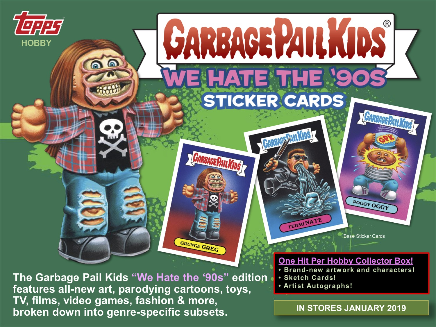 Topps Announces 2019 Series 1 Garbage Pail Kids We Hate The 90s